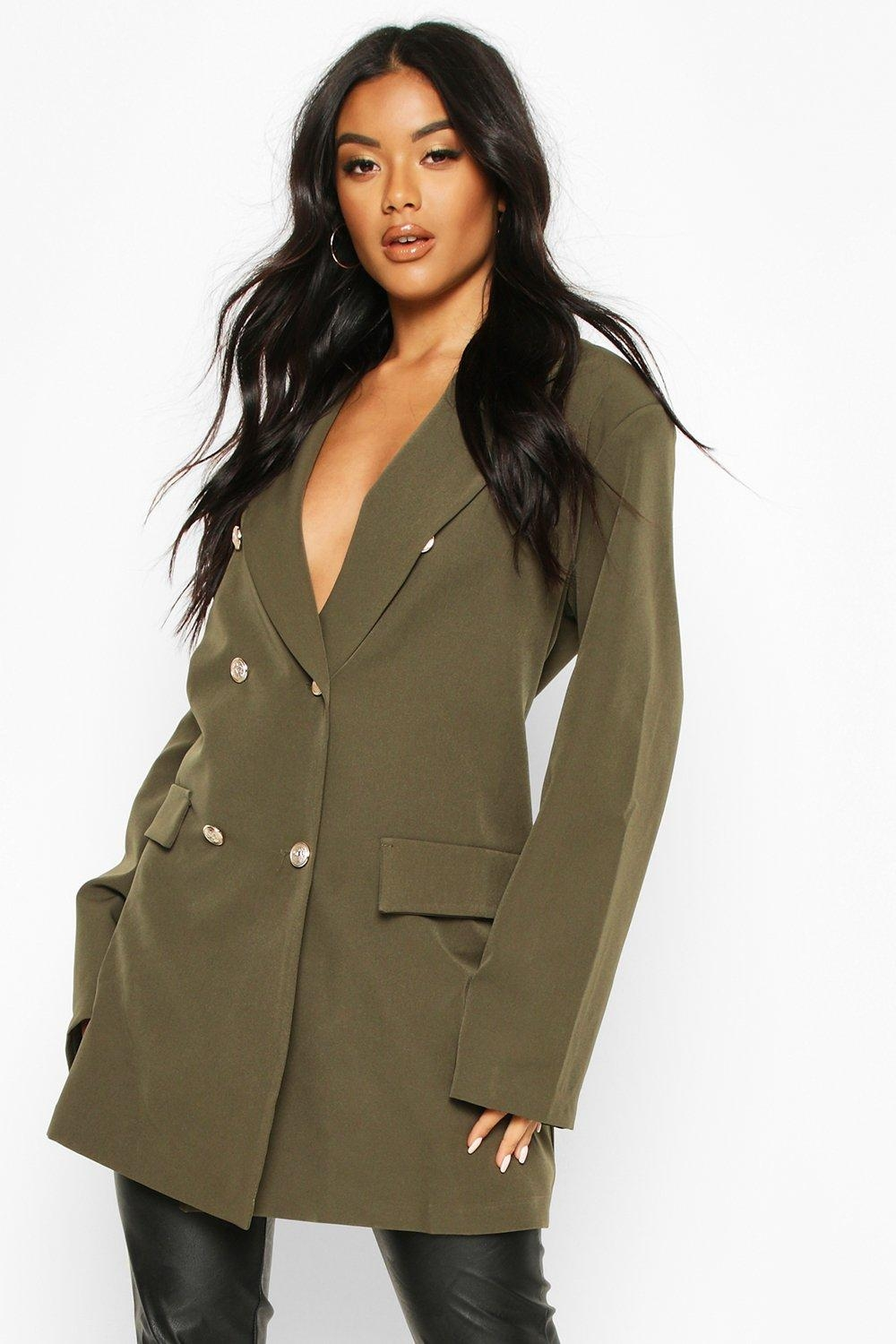 Oversize Double Breasted Blazer, Green