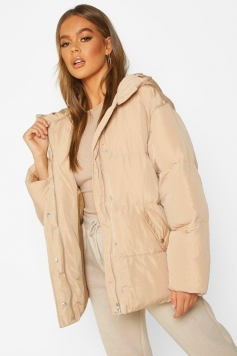 Oversized Hooded Puffer, Brown