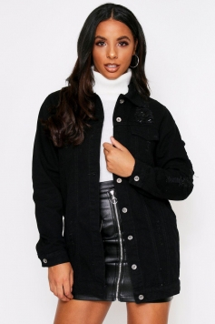 Oversized Ripped jean jacket, Black