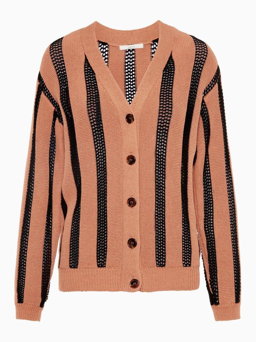 P O S T Y R Cotton V-neck Cardigan Kvinna Black; Orange