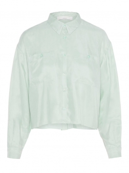 P O S T Y R Cropped Oversized Shirt Kvinna Blue; Green