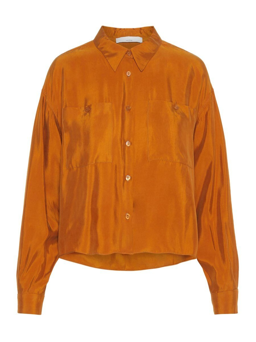 P O S T Y R Cropped Oversized Shirt Kvinna Brown; Orange