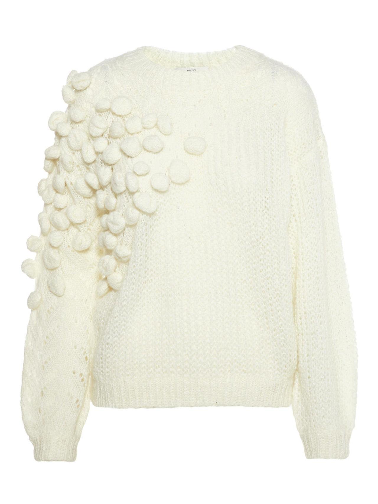 P O S T Y R Embellished Knit Jumper Kvinna Beige