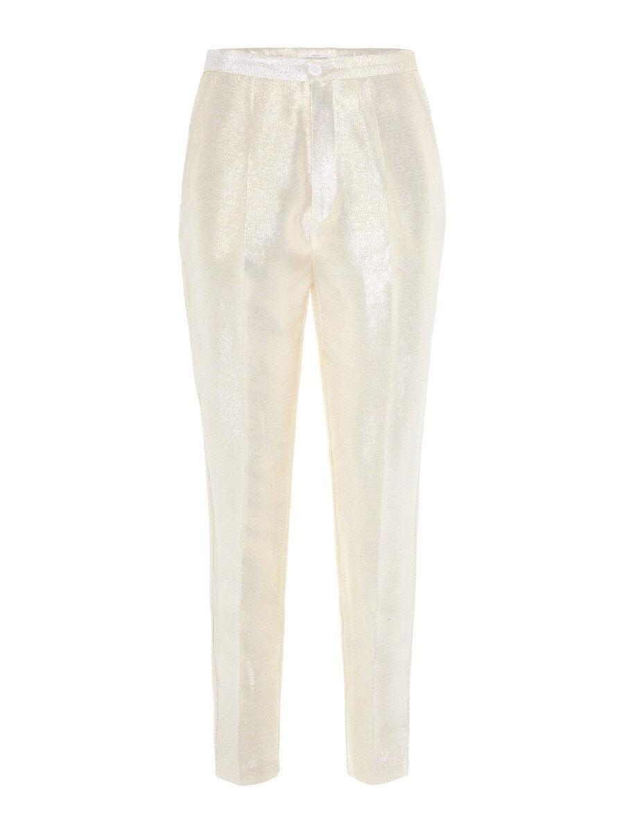 P O S T Y R High-waisted Metallic Trousers Kvinna Guld