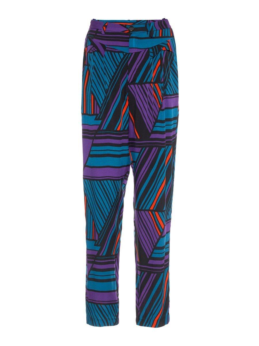 P O S T Y R Silk-blend Pleated Trousers Kvinna Coloured; Purple