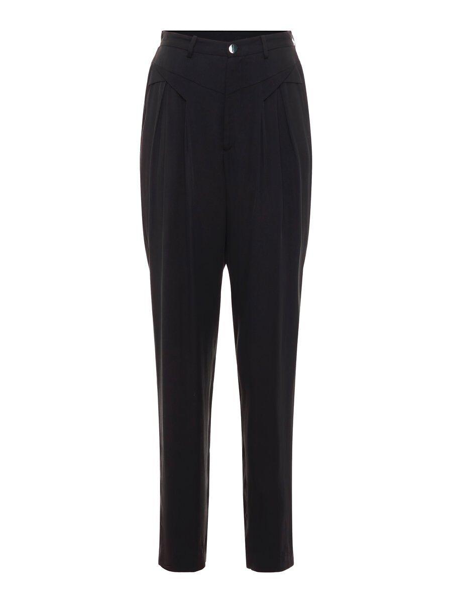 P O S T Y R Silk-blend Pleated Trousers Kvinna Svart
