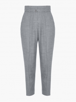 P O S T Y R Tailored High-waist Trousers Kvinna Grå