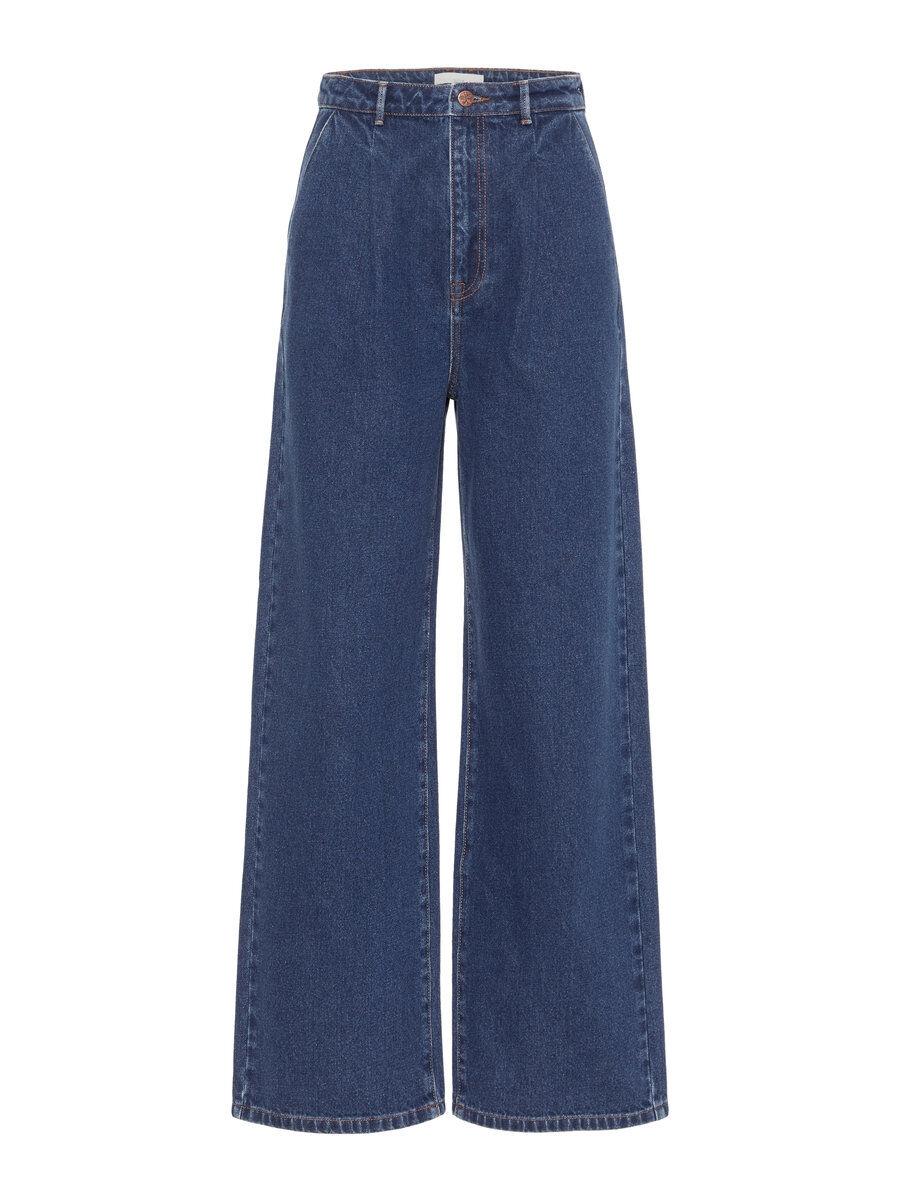 P O S T Y R Wide-legged Darted Jeans Kvinna Blå