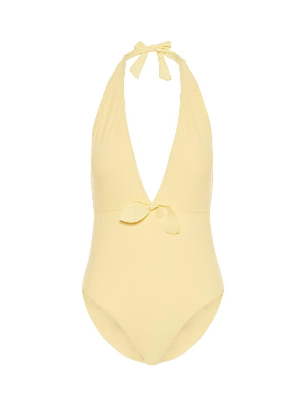 PIECES Deep Plunge One-piece Swimsuit Kvinna Gul