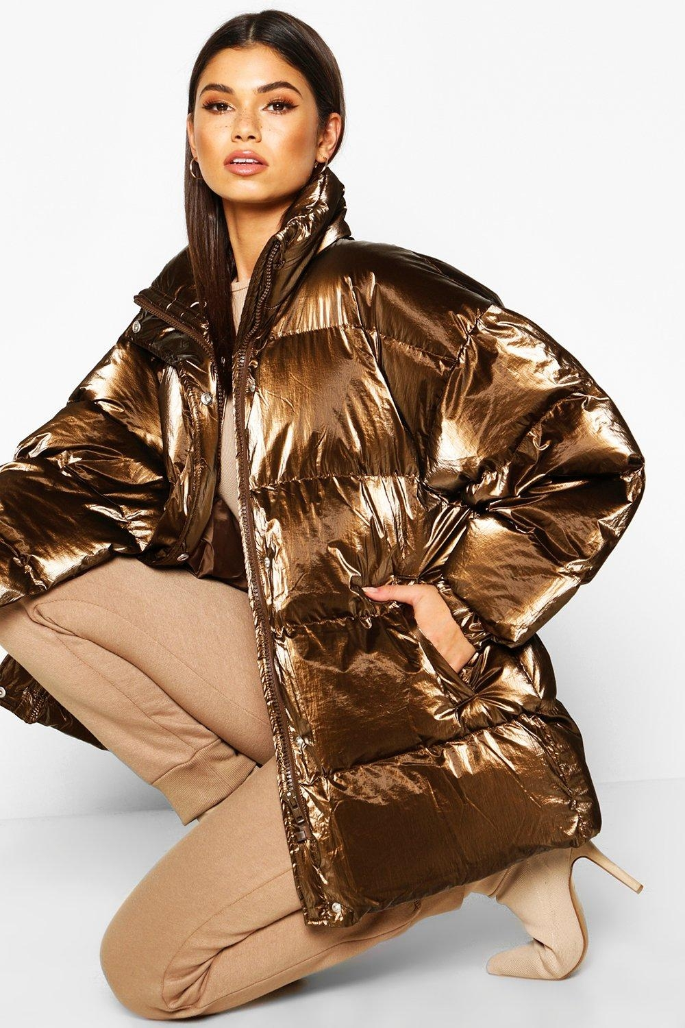 Pearlescent Belted Puffer Jacket, Brown