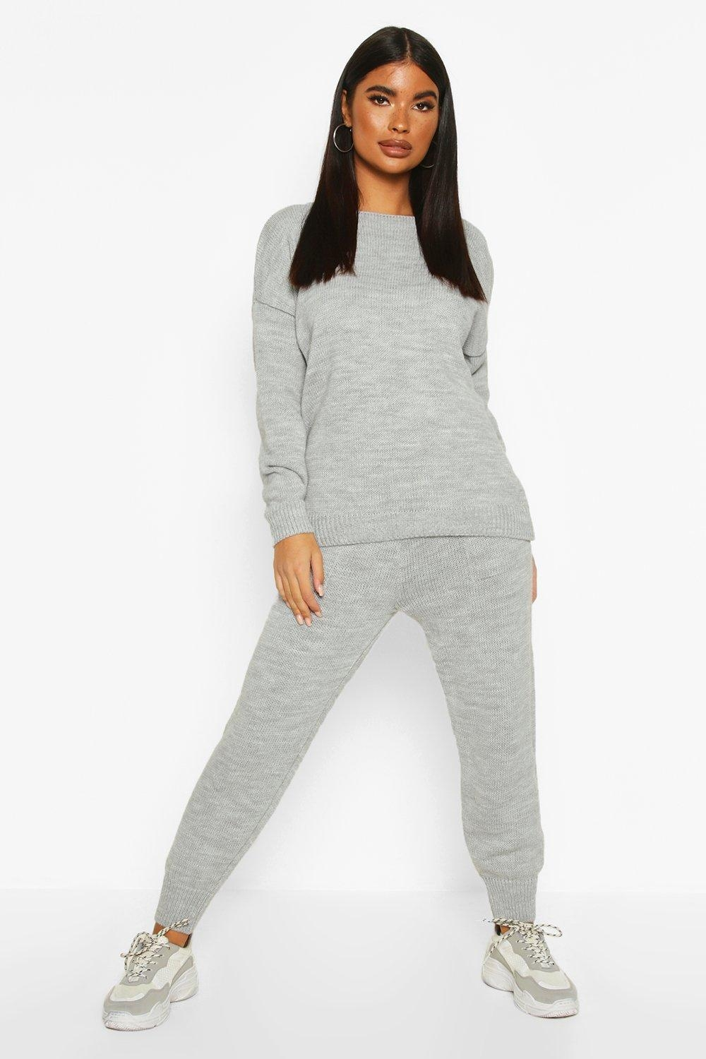 Petite Cable Knit sweater & Jogger Co-Ord, Grey