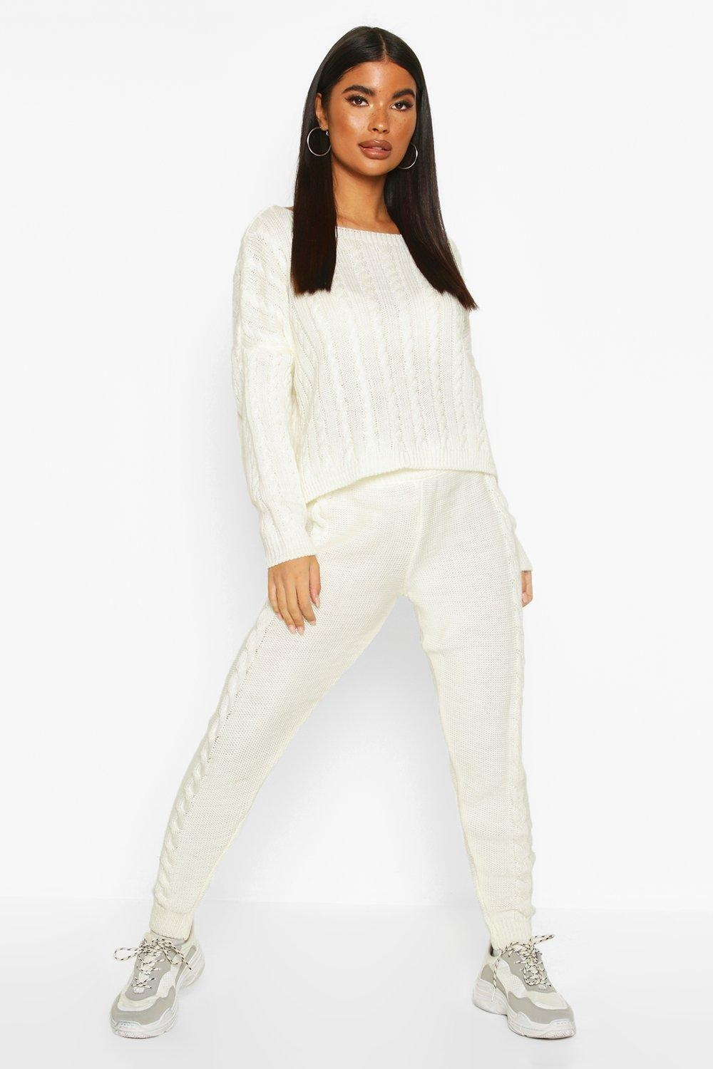 Petite Cable Knit sweater & Jogger Co-Ord, White