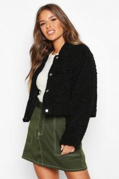 Petite Crop Faux Teddy Fur Pocket Jacket, Black