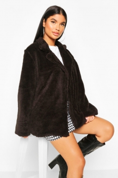 Petite Double Breasted Cropped Teddy Coat, Black