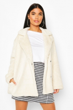 Petite Double Breasted Cropped Teddy Coat, White