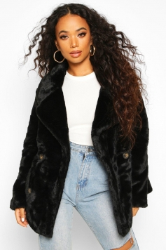 Petite Double Breasted Faux Fur Jacket, Black