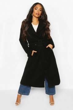 Petite Premium Textured Wool Look Belted Coat, Black