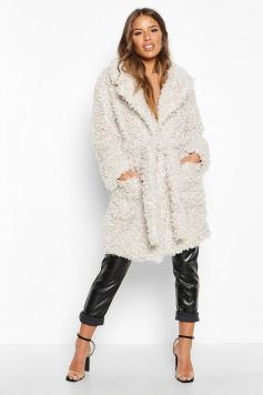 Petite Teddy Faux Fur Belted Coat, White