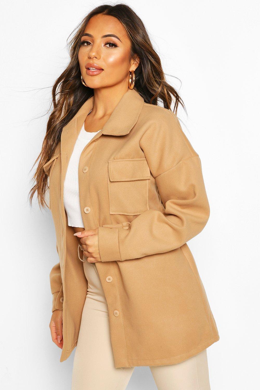 Petite Wool Look Belted Pocket Detail Jacket, Beige