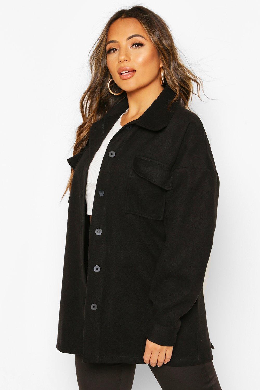 Petite Wool Look Belted Pocket Detail Jacket, Black