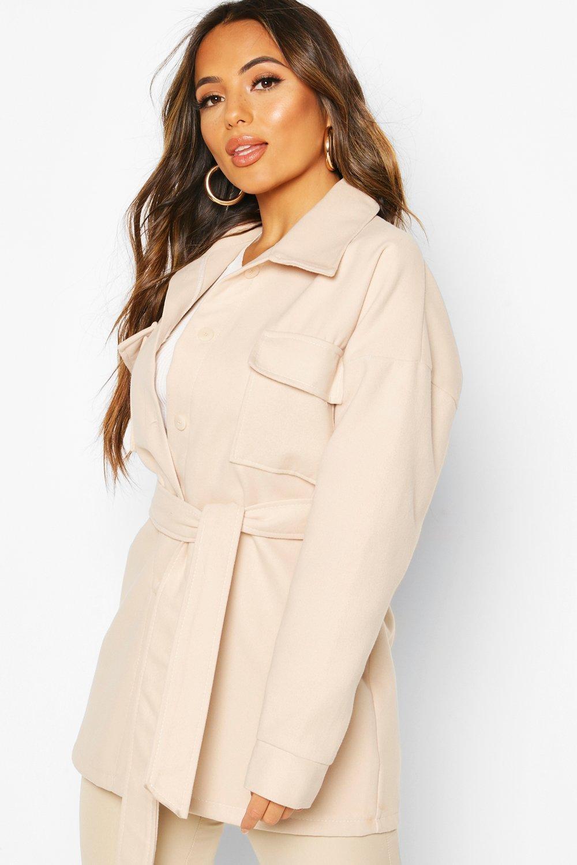 Petite Wool Look Belted Pocket Detail Jacket, White