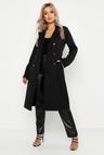 Plus Button Detail Oversized Trench Coat