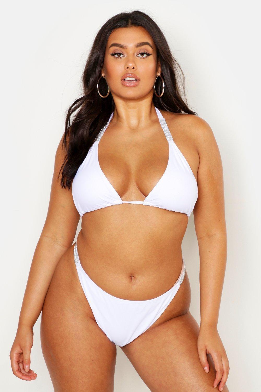 Plus Diamante Strap Triangle Bikini, White