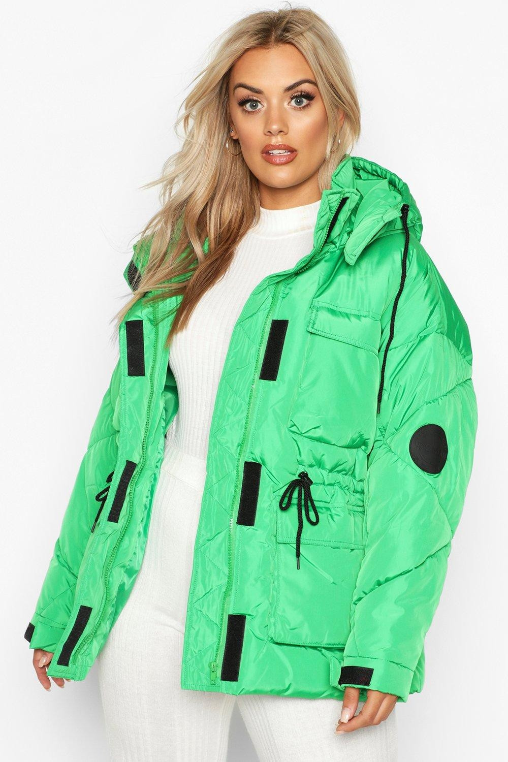 Plus Hooded Drawcord Waist Padded Parka, Green