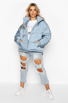 Plus Hooded Funnel Neck Puffer Jacket