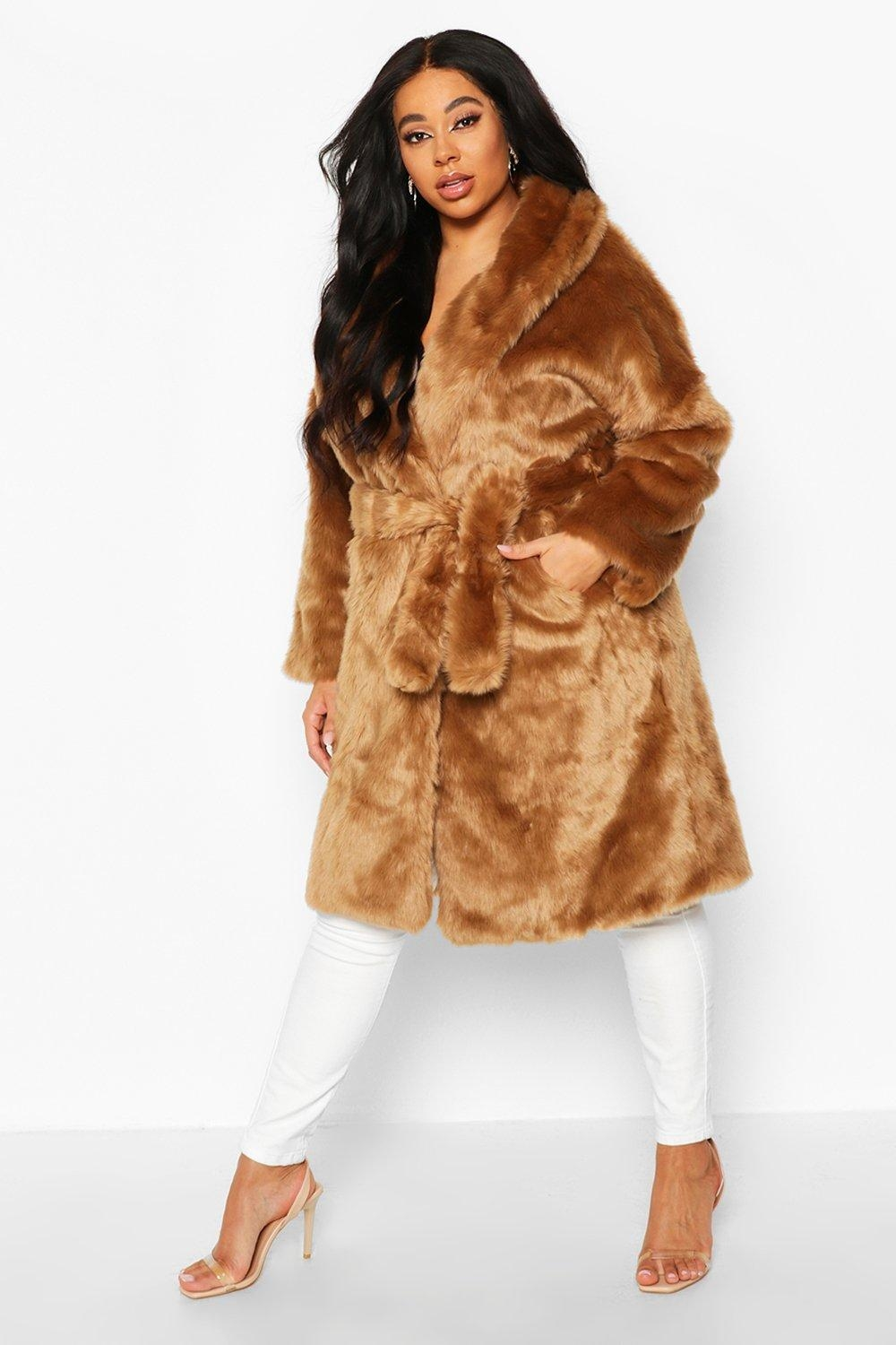 Plus Luxe Shawl Collar Belted Faux Fur Coat, Beige