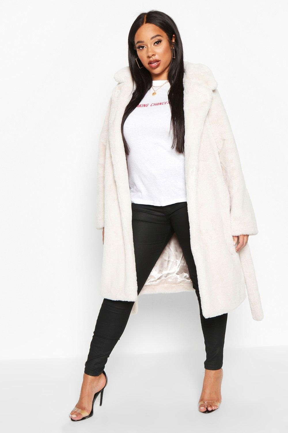 Plus Supersoft Belted Faux Fur Longline Coat, White