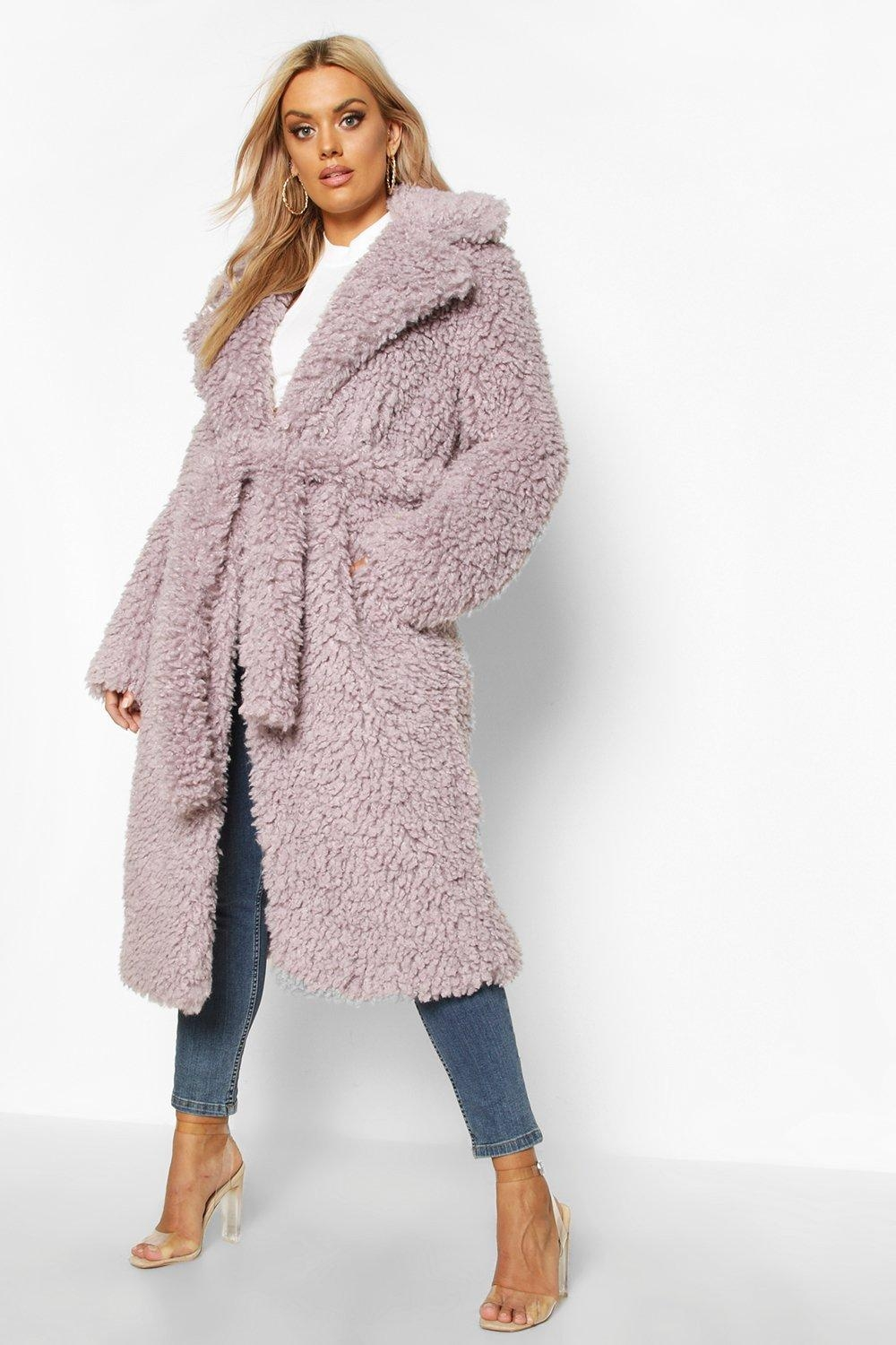 Plus Teddy Faux Fur Belted Longline Coat, Purple