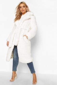 Plus Teddy Faux Fur Belted Longline Coat, White