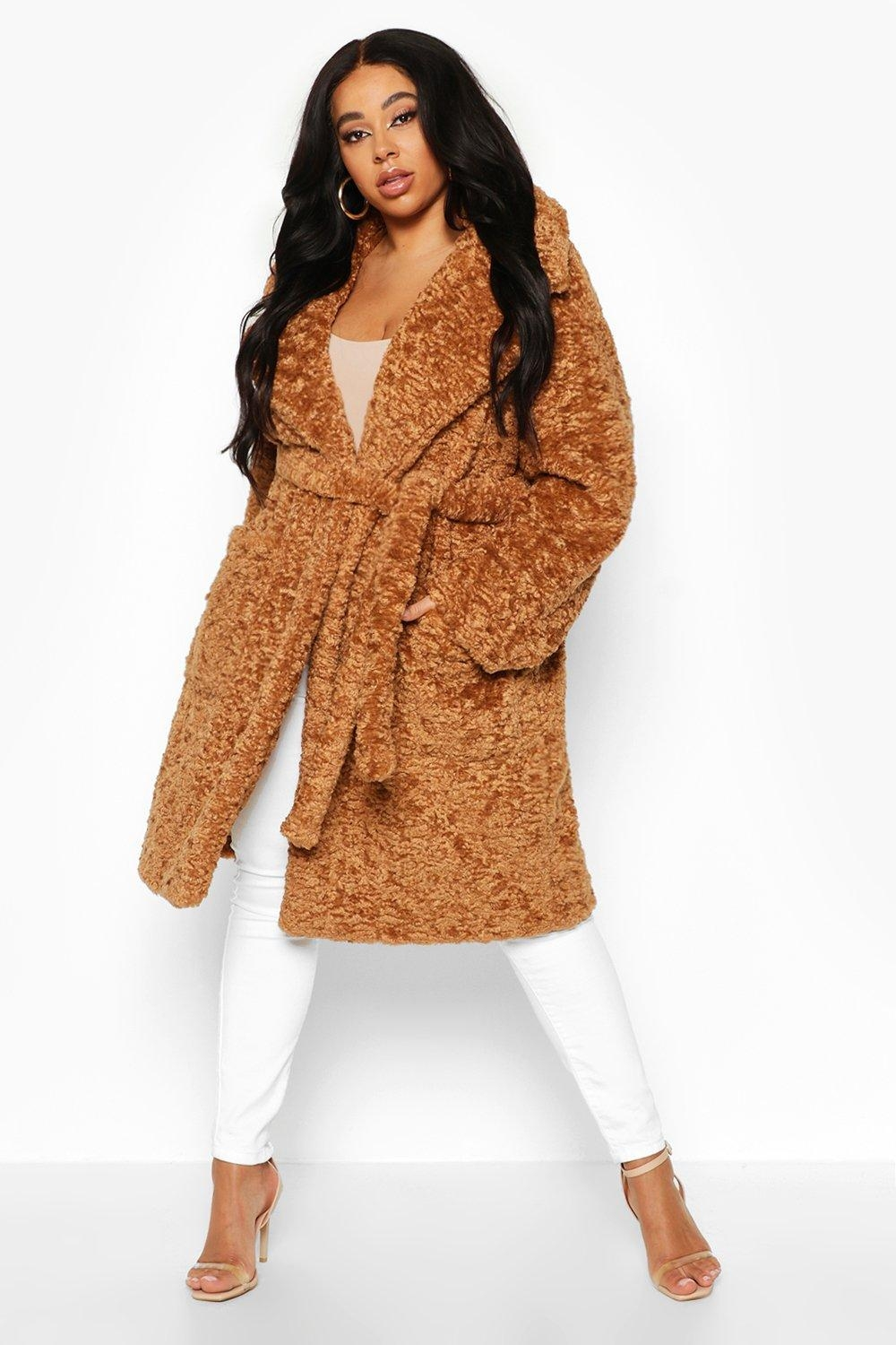 Plus Teddy Faux Fur Belted Mid Length Coat, Beige