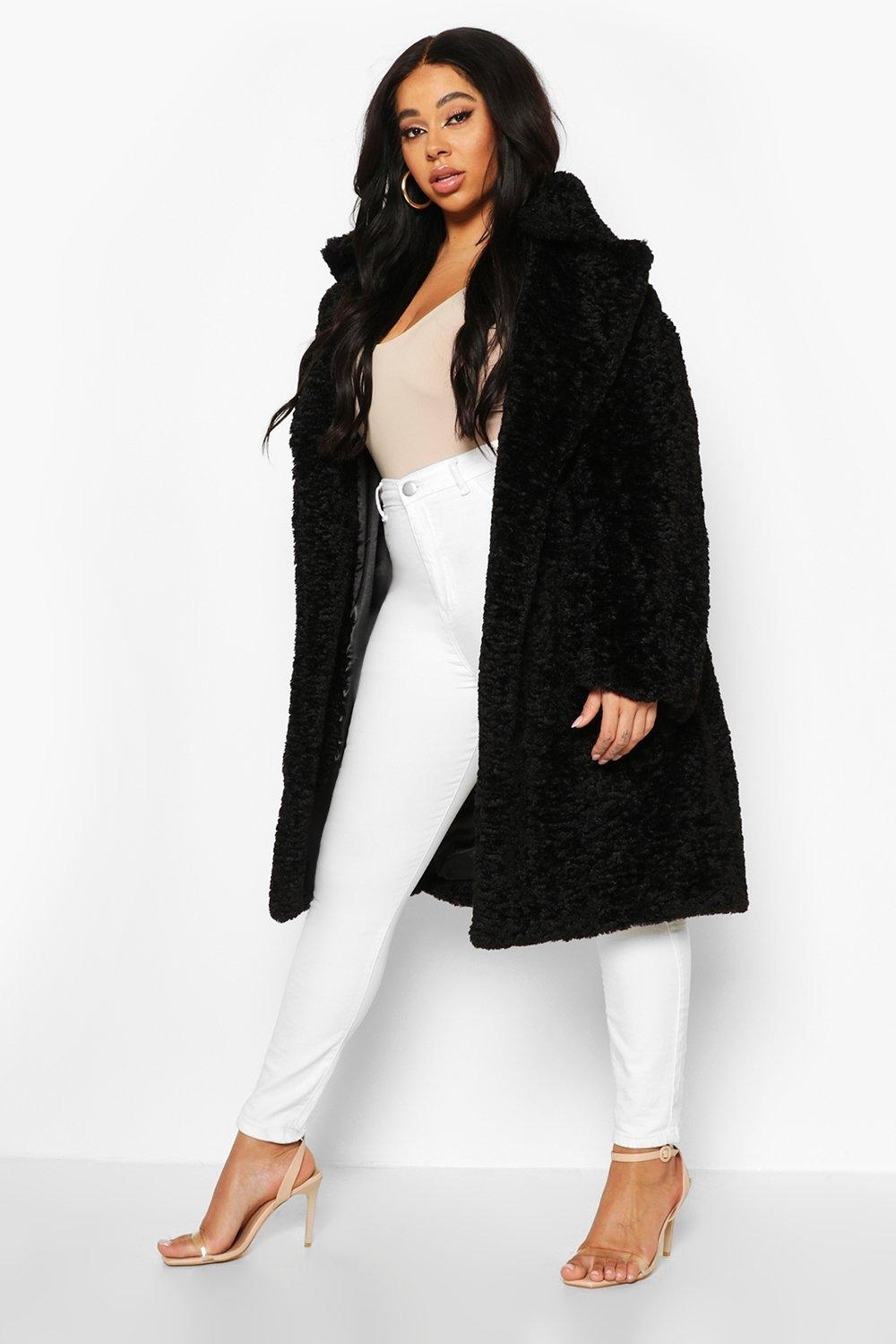 Plus Teddy Faux Fur Belted Mid Length Coat, Black
