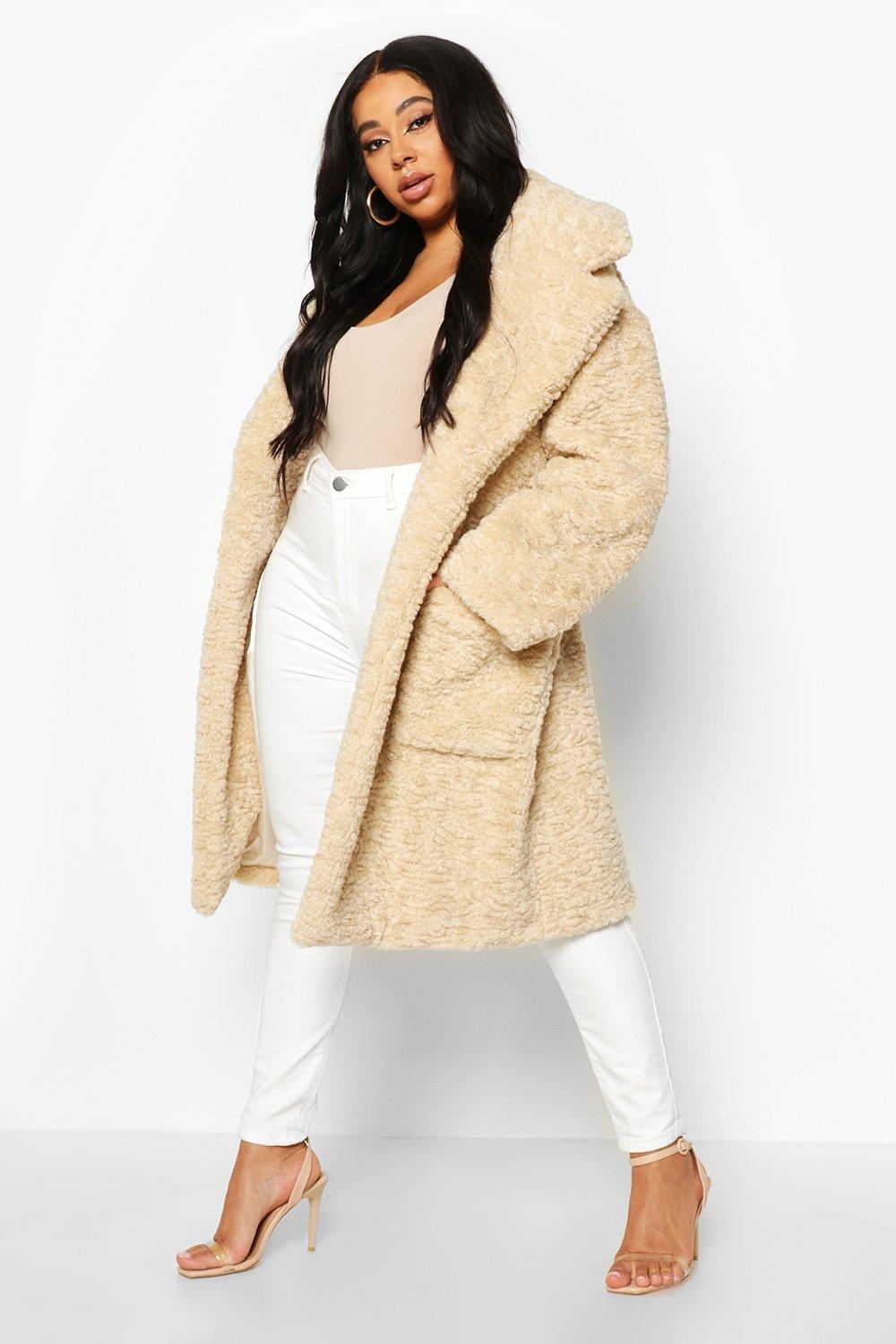 Plus Teddy Faux Fur Belted Mid Length Coat, White