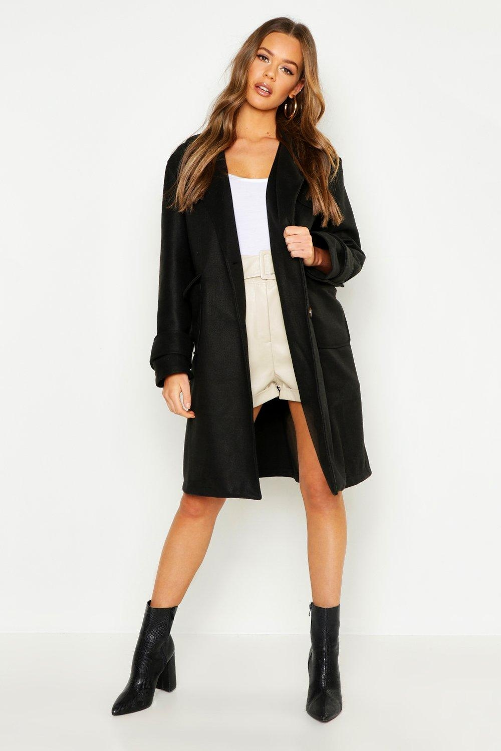 Pocket Detail Utility Wool Look Coat, Black