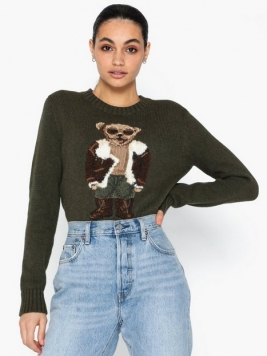Polo Ralph Lauren Aviator Bear-Long Sleeve-Sweater Stickade tröjor