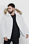 Popper Side Puffer With Faux Fur Trim Hood