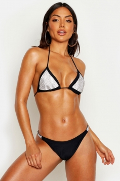 Premium Diamante Triangle Bikini, Black