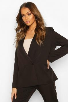Premium Double Breasted Blazer, Black