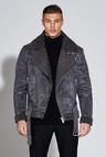 Premium Faux Suede Borg Lined Biker Jacket
