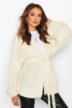 Premium Hand Knitted Belted Cardigan, White