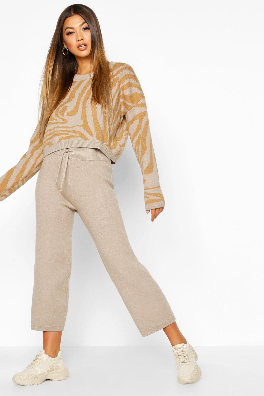 Premium Knitted Jacquard Wide Leg Set, Beige