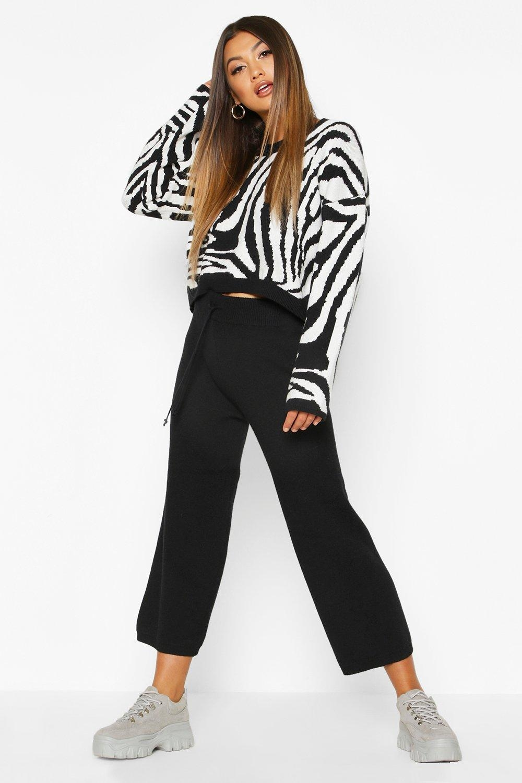 Premium Knitted Jacquard Wide Leg Set, Black