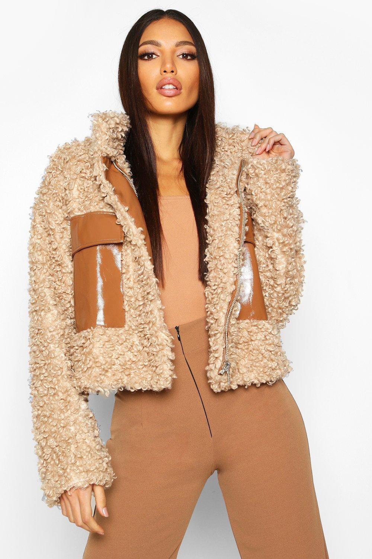Premium Teddy Cropped Faux Fur Jacket, Brown