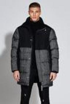 Premium Wool Mix Herringbone Parka Jacket