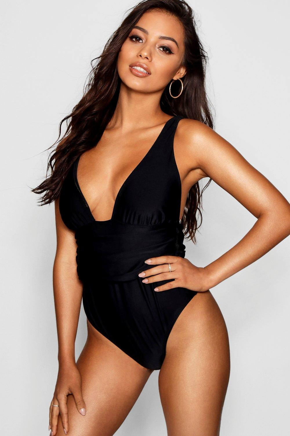 Riomaggiore Fuller Bust Ruched bathing suit, Black