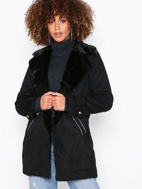 River Island Fur Bonded LL Jacket Kappor Black