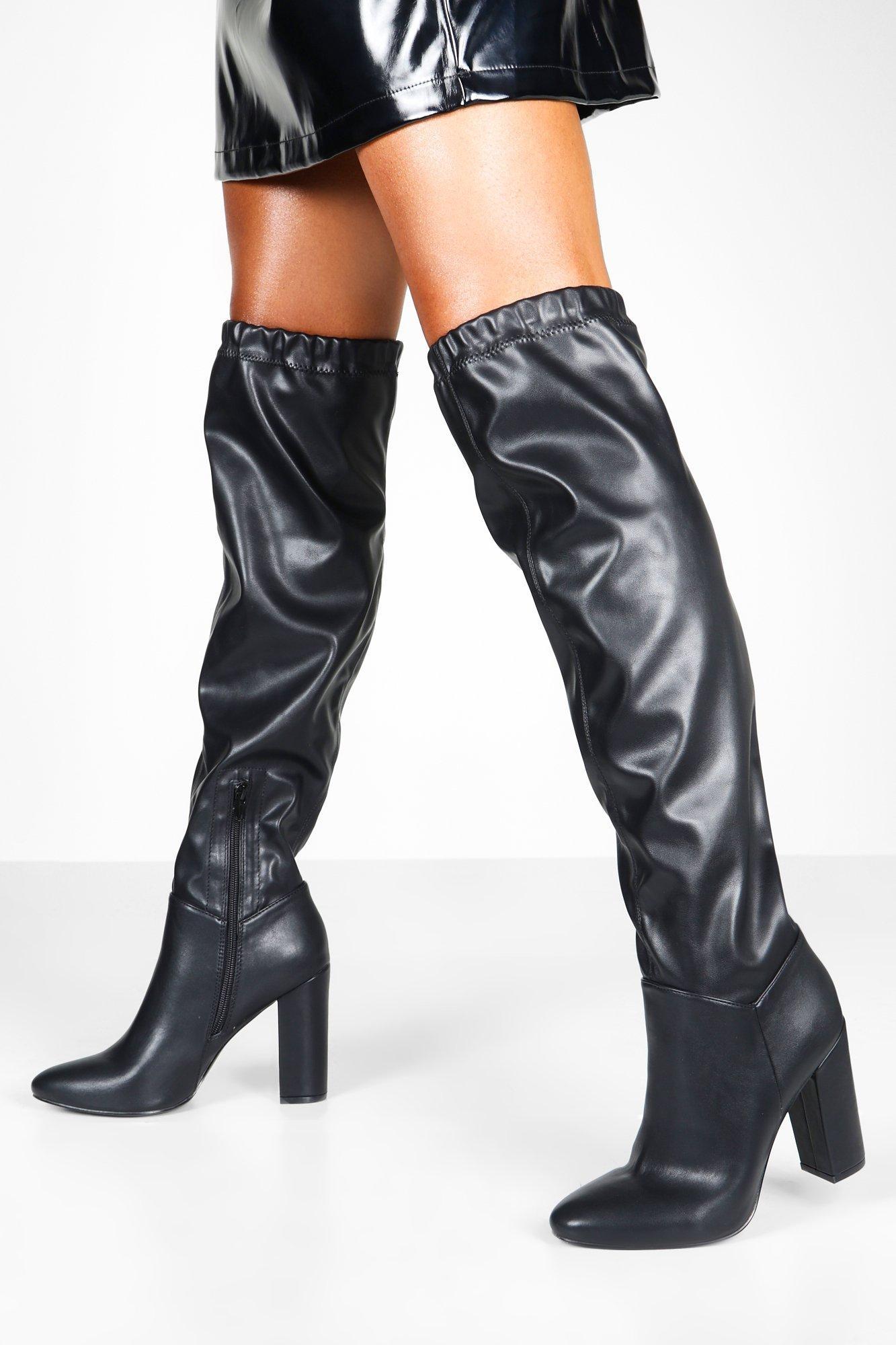 Ruched Block Heel Knee Boots, Black